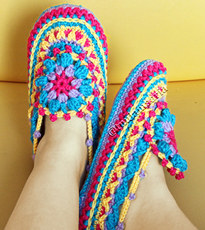 colourful crochet slippers pattern
