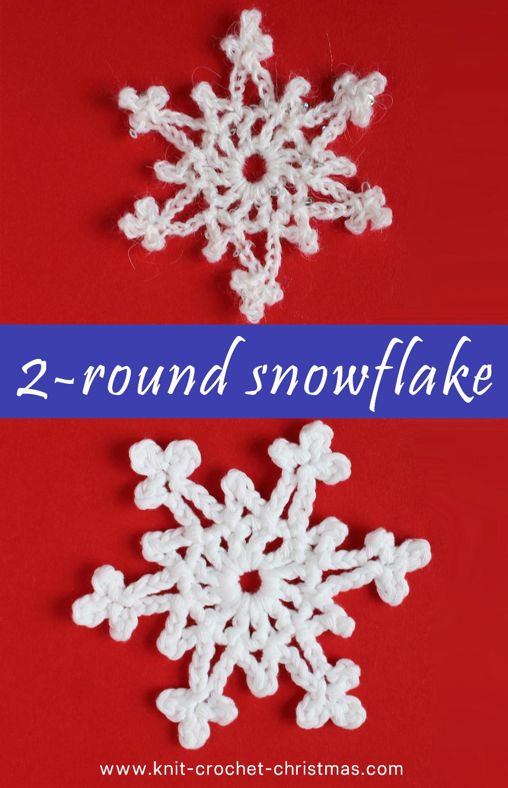 Crochet easy 2-round snowflake