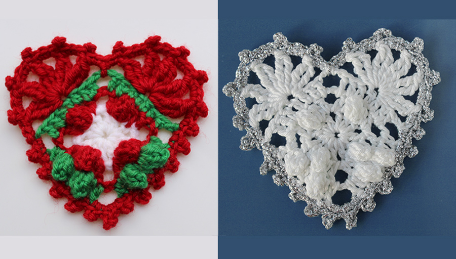 Decorate with crochet hearts