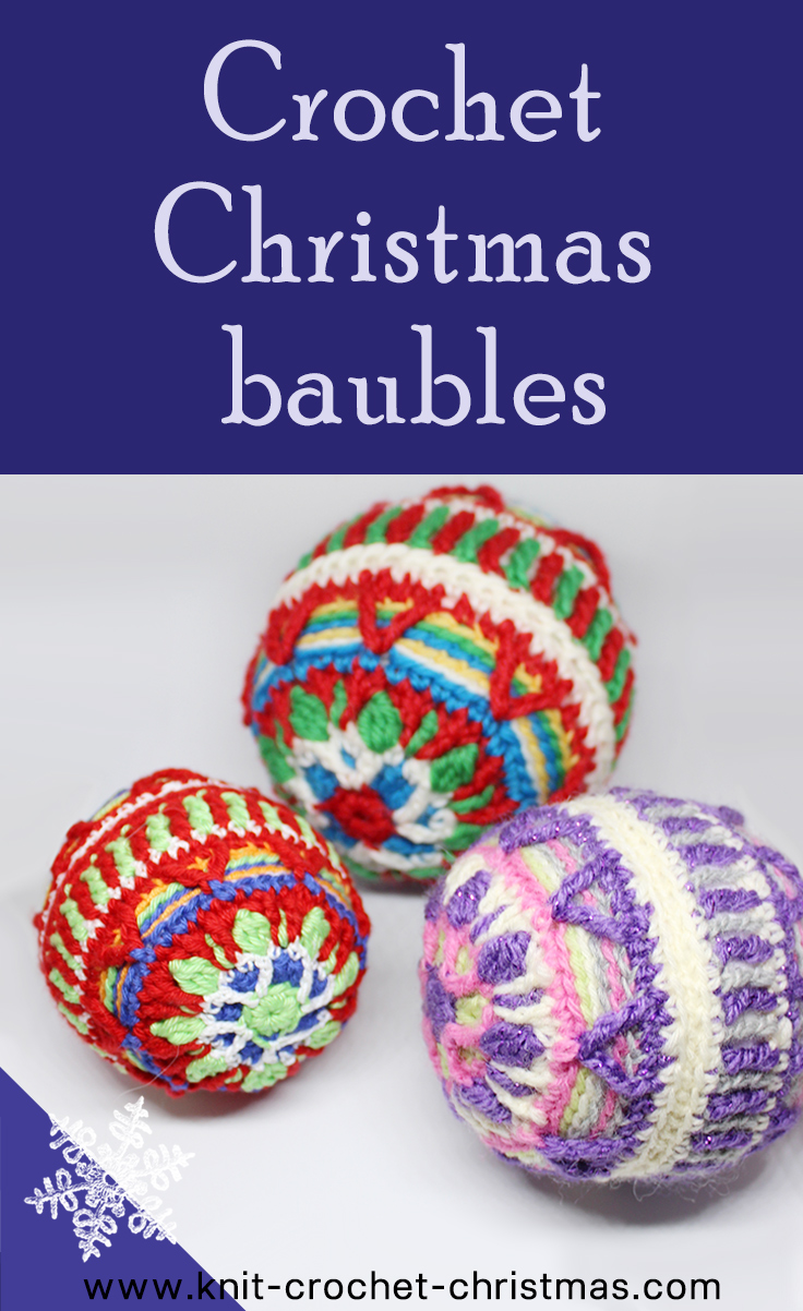 Crochet colorful Christmas bauble decorations