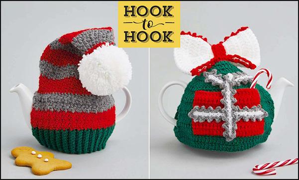 Hook-to-hook crochet designer challenge Christmas teapot cosy