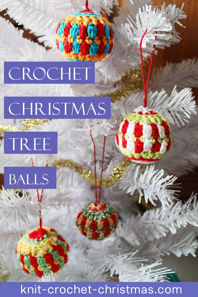 pinterest pin for crochet christmas tree balls